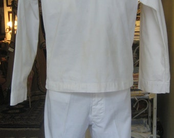 """1940's, 42"""" chest, WW2 white cotton duck U.S. Navy """"summer white"""" 2 piece uniform"""