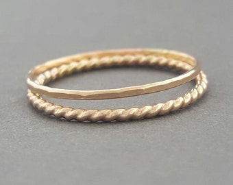 Thin Gold Ring 2 Stacking Rings knuckle ring, midi ring or thumb ring