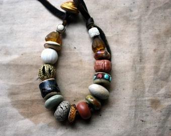 Earth Awakening Bracelet w / Artisan Lampwork, Stoneware, Porcelain and Metal Beads On Waxed Buckskin Leather For a 6 to 7 Inch Wrist