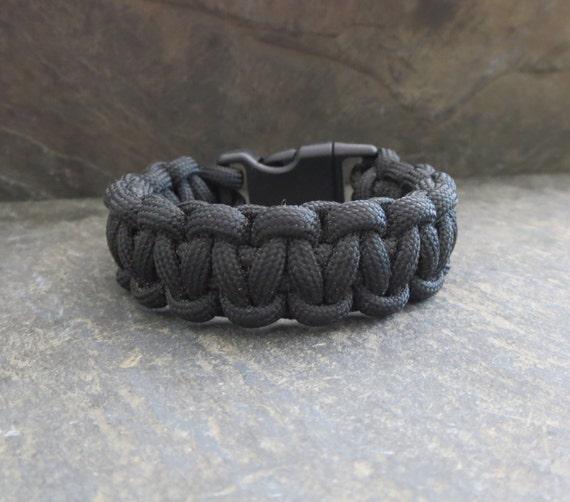 Black Paracord Bracelet -   Jewelry that Gives Back, Cord Bracelet - Survival Bracelet -  Survival Paracord Bracelet