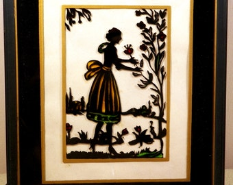 Vintage 1930s Silhouette Reverse Painted Framed Picture Lady in Garden-B/W with some Color 8 1/2 x 10 1/2-Charming Decor, Sweet Display