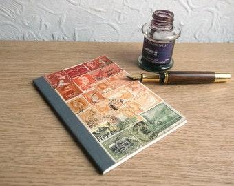 Dot Grid Bujo | A6 Bullet Point Journal, Bullet Notebook, Bullet Planner | Sunset Orange Boho Hippie Gift | Recycled Vintage Postage Stamps