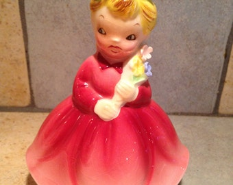 Girl with Bouquet China Doll Figurine