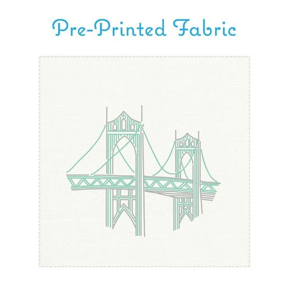 St johns bridge embroidery fabric pre printed
