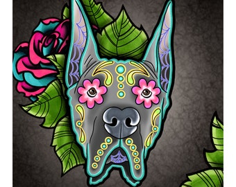 "Great Dane with Cropped Ears - Day of the Dead Sugar Skull Dog 8"" x 10"" Art Print"