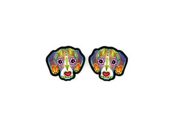 Beagle Earrings - Day of the Dead Sugar Skull Dog Earrings