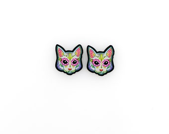 Cats in Grey - Day of the Dead Sugar Skull Kitty Cat Earrings - THE ORIGINAL