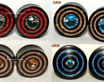 "Custom Wood Plugs- Crystal, Druzy, Glass, Double Ring Inlay Examples / Organic Jewelry (7/8"" through 3"" +) (22mm through 76mm +)"