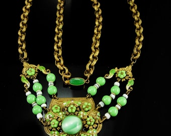 Vintage Victorian necklace Czech Flower glass Enamel and brass FANCY Chain Antique estate green jewelry