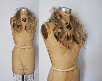 FEATHERED Raccoon Fur Collar / genuine fur
