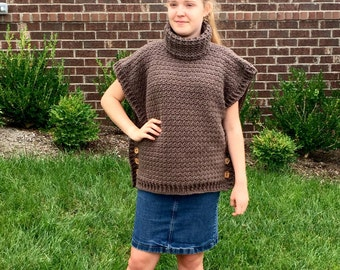 Crochet PATTERN Poncho - Cowl - Crochet Pattern Poncho Cowl - 9 sizes - Sophia