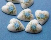 SALE - 20 heart cabochons with blue rose, vintage porcelain, 12mm