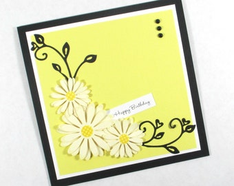 Birthday cards, daisy flowers, daisies, feminine birthday cards, women, mom, wife, daughter, personalized cards