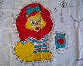 "Moving Sale!  Vintage ""Hero Lion"" Pre Printed Fabric Panel Cut Sew Stuff Toy Pillow"