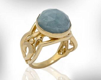Gemstone Ring, Aquamarine Ring, March Birthstone, Birthstone ring, Women Jewelry Gift Ideas, Birthday Gift, Statement Ring, Free Shipping
