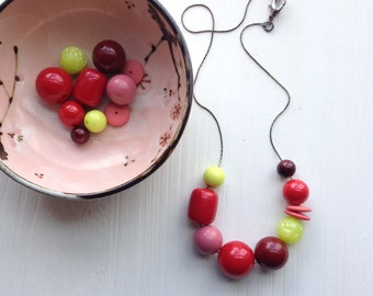 hallucination - necklace - remixed vintage lucite - lime green cranberry red rose pink