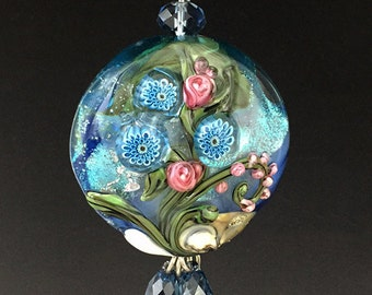 Gerber Daisy Garden lampwork bead pendant for necklaces SRA OOAK