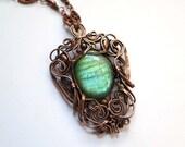 Labradorite and Copper Pendant - Light Green