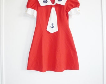 Vintage Girl's Red Nautical Dress