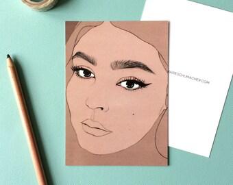 Priscilla Ono - Postcard // female pencil portrait, eyebrow game strong, plus size beauty, celebrate curvy women