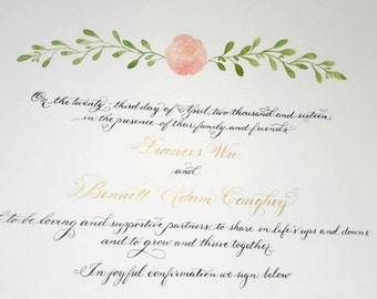 Watercolor Rose Custom Marriage Certificate