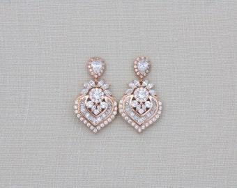 Rose Gold Earrings, Wedding earrings, Art Deco Bridal earrings, Swarovski earrings, Bridal jewelry, CZ earrings, Dangle earrings, EMMA