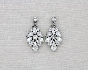 Crystal Bridal earrings, Wedding earrings, Wedding jewelry, Swarovski earrings, Bridal jewelry, Statement earrings, Antique silver earrings