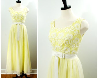 Vintage Yellow Formal Gown, 1960s Chiffon Prom Dress by Nadine, White Embroidered Tulle Party Dress