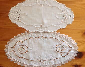2 Vintage Danish Linen Doilies in White with Lace