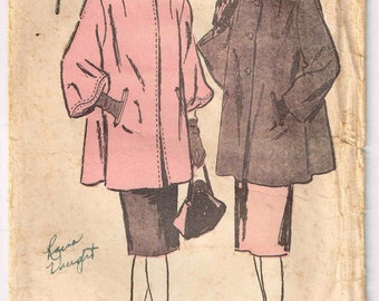 Misses Loose Fitting Coat Vintage 1940s Advance 4366 Sewing Pattern Size 6 8 10 12 Bust 30.5 31.5 32.5 34 Historical Fashion