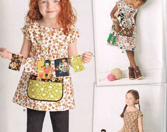 Girls Dress and Tunic  Child Boho Granny Chic Simplicity 8101 Sewing Pattern Children Size 3 4 5 6 8 Dottie Angel