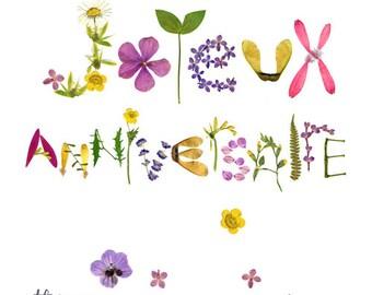 Happy Birthday herbarium pressed flower card, Anniversary eco friendly vegetal card, Floral typography, Flower stationery, Botanical art