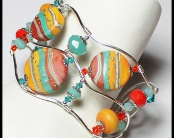 Painted Desert... Handmade Jewelry Bracelet Beaded Artisan Wire Wirework Lampwork Crystal Southwest Turquoise Aqua Orange Terra Cotta Silver