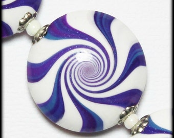 Tie Dye Blues... Handmade Polymer Clay Beads Set Violet Blue Amethyst Purple Orchid White Silver Bead Caps Swirl Spiral Jewelry Supplies