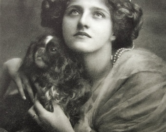 Antique dog and lady photo postcard, Ivy Close with toy dog, Antique Edwardian photo postcard, Antique Spaniel photo postcard