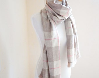 """Cashmere Scarf with Merino Silk in Beige, White and Pink Handwoven Check Pattern 20"""" x 78"""""""