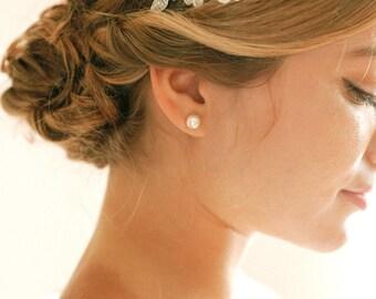 Pearl stud earrings, pearl wedding earrings, bridal pearl studs, wedding jewelry, wedding gift, gift for her - style 701