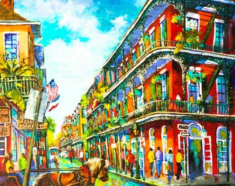 Royal Street with Balconies, Horse and Buggy, French Quarter, New Orleans Art, French Quarter Painting, GICLÉE Canvas & Print FREE SHIPPING