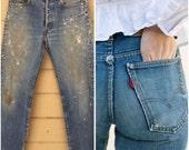 Vintage 70s Levi's 501 Boyfriend Jeans. 30 x 31. Vintage denim. Levis. Paint. Stains. Distressed Denim pants Medium wash