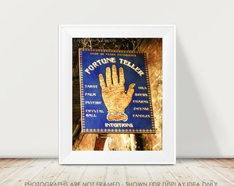 Fortune Teller, Sign Photography, New Orleans Photograph, Gold and Navy Home Decor, Palm Reader, French Quarter, Golden, Mardi Gras, Navy