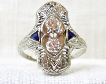 Art Deco 18k Gold Diamond and Sapphire Dinner Ring .50 Carats