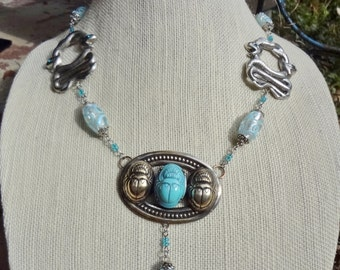 SALE--Vintage Egyptian Revival Scarab Necklace--Super