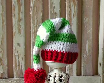 Christmas Baby Elf Hat, Baby Christmas Hat, Crochet Christmas Hat, Crochet Elf Hat, Red and Green Striped Elf Hat, Crochet Baby Stocking Hat