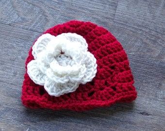 Red Christmas Flower Hat, Christmas Baby Girl Hat, Christmas Flower Baby Hat, Crochet Newborn Christmas Hat, Christmas Photo Prop