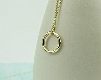 Solid Gold Necklace - Simple Circle of Life-gold necklace-solid gold necklace-simple gold necklace-karma necklace-carat-gift for mum-synergy