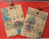 Pair of Valentine's Day Tag/notecards/gifts/cherubs/music vintage buttons  original design free shipping