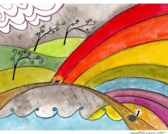 Personalized Pet Cat Memorial Rainbow Bridge Poem Print Painting