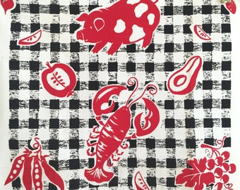 Vintage Tea Towel Bucilla Gingham Barbecue NOS New Old Stock MWT