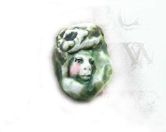 artisan bead, handmade bead, rustic bead, pendant bead, ceramic focal bead - green bead,  # 148
