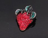 PELL Strawberry Brooch, Red Rhinestones, Vintage  Jewelry